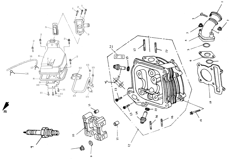 Zylinderkopf 50ccm RIVERO VR 50