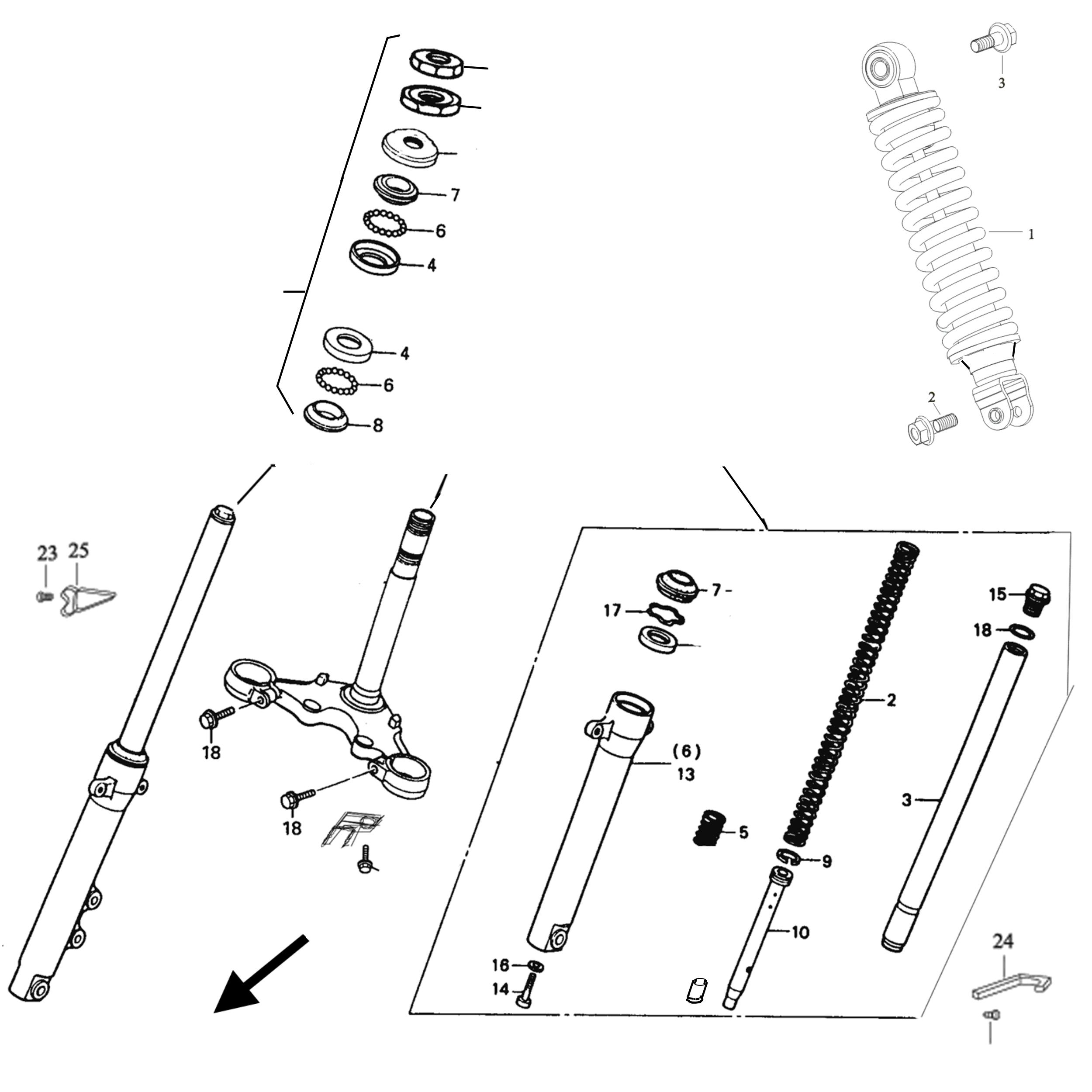Gabel Dämpfung Baugruppen Aufbau Fahrgestell Xr 50 Rivero